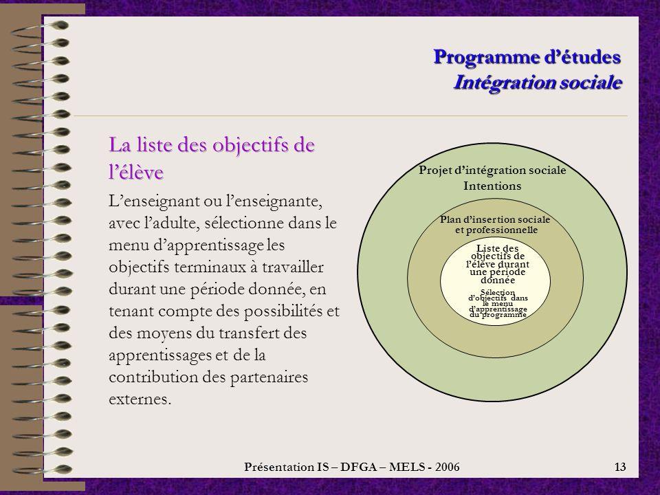 Présentation IS – DFGA – MELS - 2006 12 Programme détudes Intégration sociale Projet dintégration sociale Intentions Plan dinsertion sociale et professionnelle Buts concrets, gestes à faire, ressources