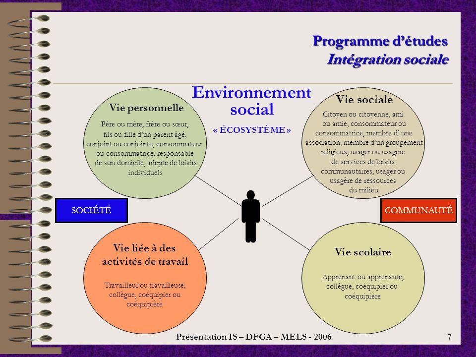 Présentation IS – DFGA – MELS - 2006 6 Programme détudes Intégration sociale