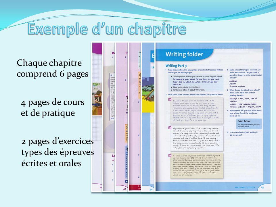 Chaque chapitre comprend 6 pages 4 pages de cours et de pratique 2 pages dexercices types des épreuves écrites et orales
