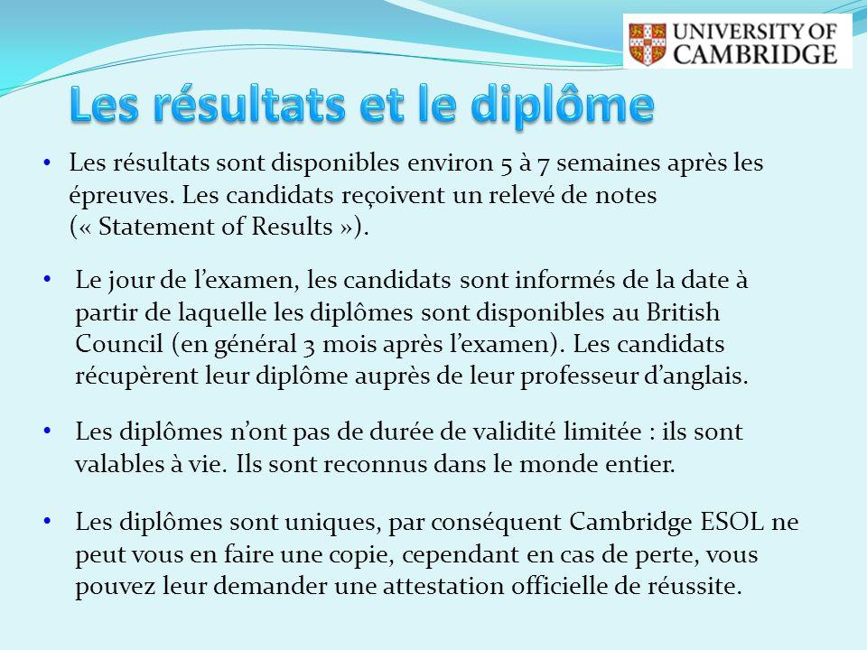 Les résultats sont disponibles environ 5 à 7 semaines après les épreuves. Les candidats reçoivent un relevé de notes (« Statement of Results »). Le jo
