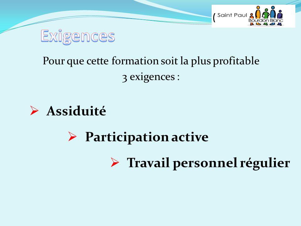 Pour que cette formation soit la plus profitable 3 exigences : Assiduité Participation active Travail personnel régulier