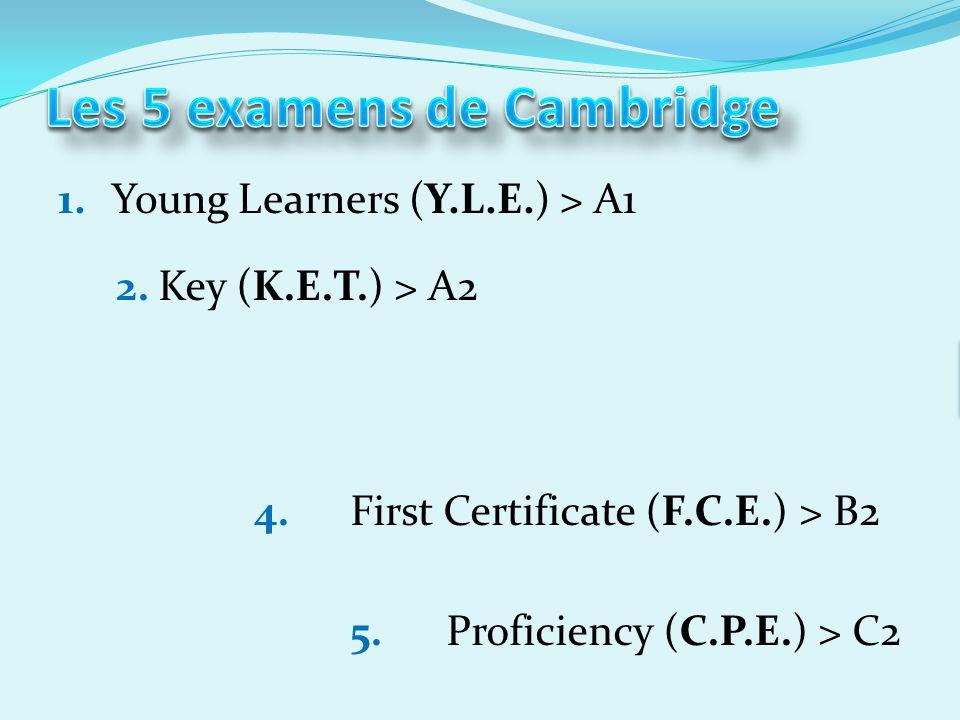 1.Young Learners (Y.L.E.) > A1 2.Key (K.E.T.) > A2 3.Preliminary (P.E.T.) > B1 4.First Certificate (F.C.E.) > B2 5.Proficiency (C.P.E.) > C2