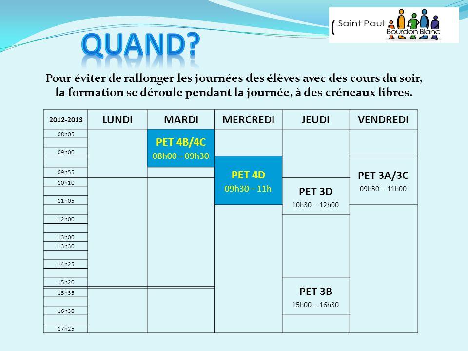 Pour éviter de rallonger les journées des élèves avec des cours du soir, la formation se déroule pendant la journée, à des créneaux libres. 2012-2013