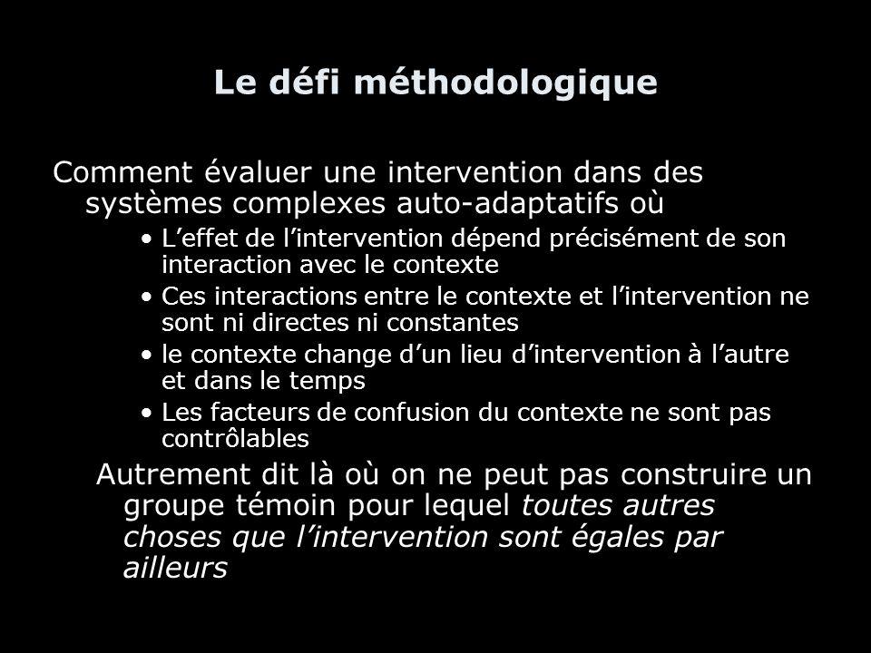 Le défi méthodologique Comment évaluer une intervention dans des systèmes complexes auto-adaptatifs où Leffet de lintervention dépend précisément de s