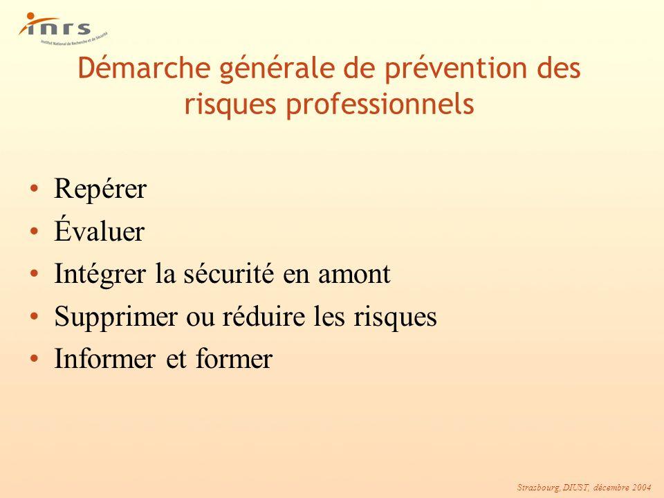 Strasbourg, DIUST, décembre 2004 Démarche générale de prévention des risques professionnels Repérer Évaluer Intégrer la sécurité en amont Supprimer ou