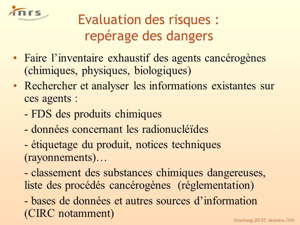 Strasbourg, DIUST, décembre 2004 Evaluation des risques : repérage des dangers Faire linventaire exhaustif des agents cancérogènes (chimiques, physiqu