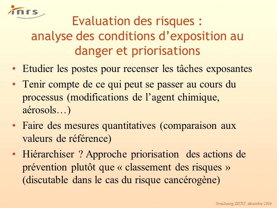Strasbourg, DIUST, décembre 2004 Evaluation des risques : analyse des conditions dexposition au danger et priorisations Etudier les postes pour recens