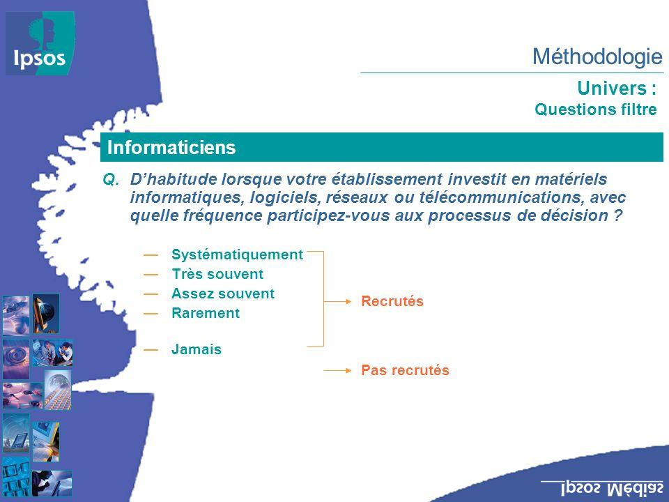 Méthodologie Univers : Questions filtre Q.Dhabitude lorsque votre établissement investit en matériels informatiques, logiciels, réseaux ou télécommunications, avec quelle fréquence participez-vous aux processus de décision .