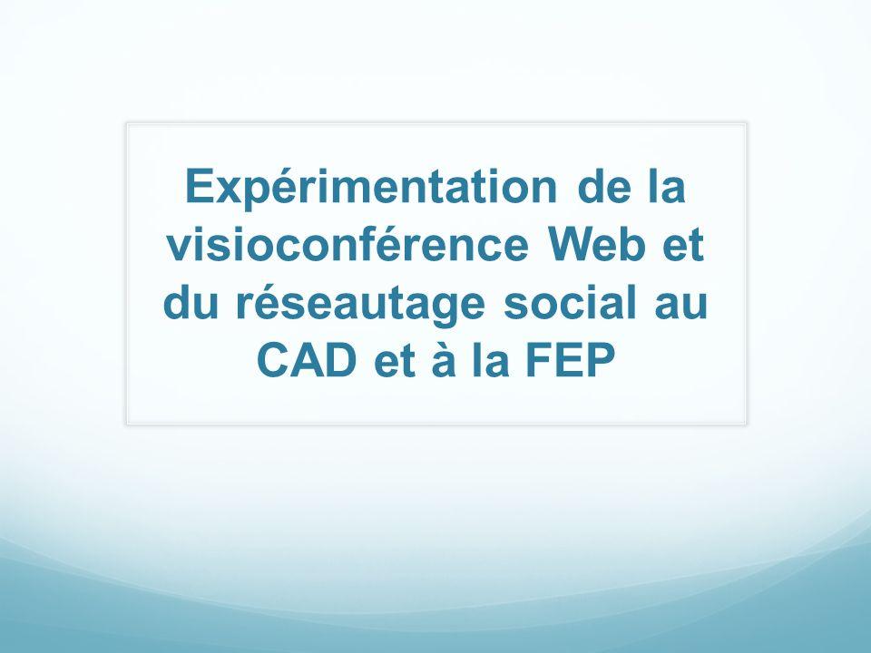 Expérimentation de la visioconférence Web et du réseautage social au CAD et à la FEP