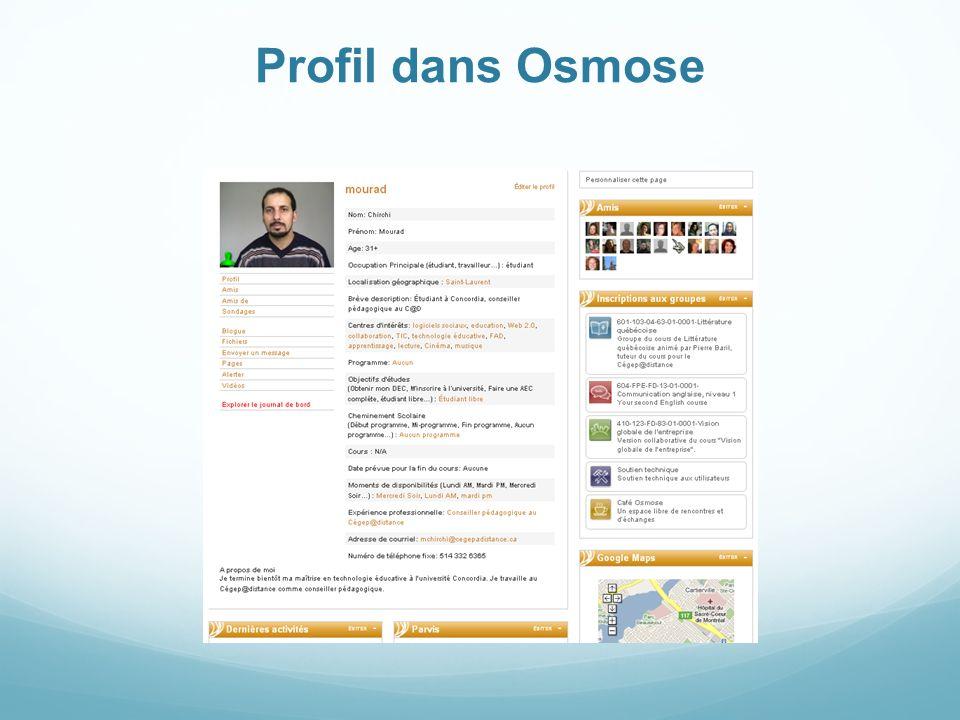 Profil dans Osmose
