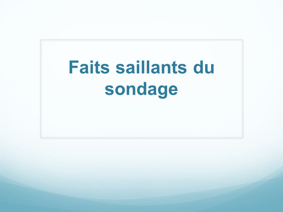 Faits saillants du sondage