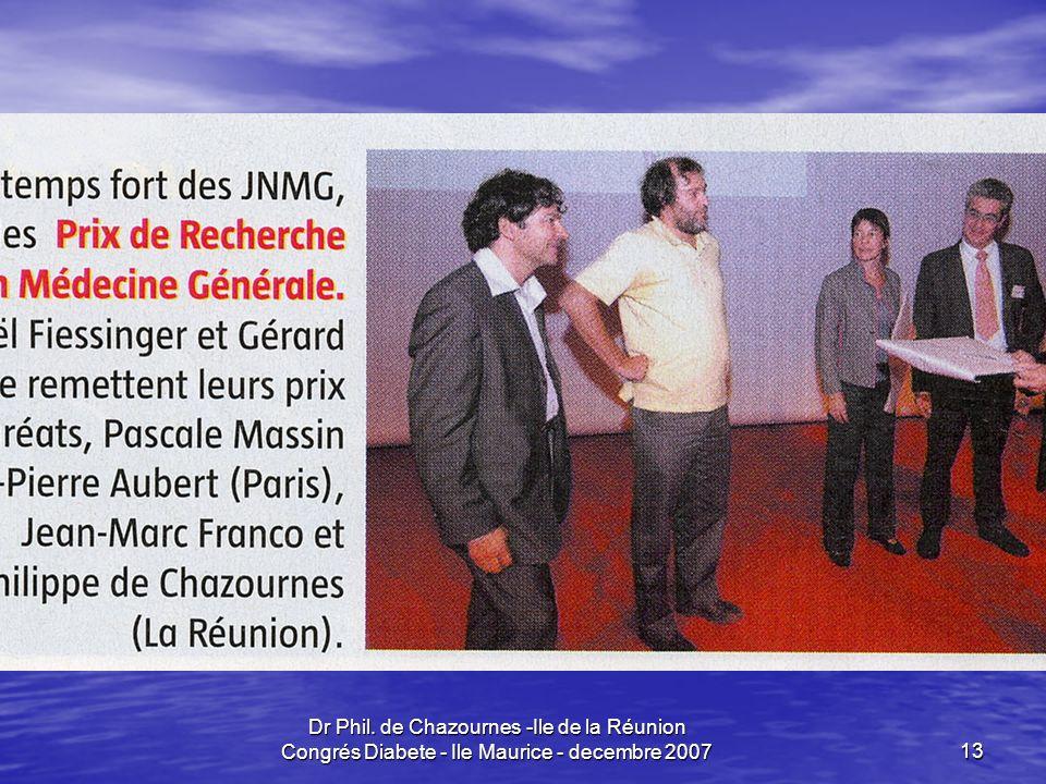 Dr Phil. de Chazournes -Ile de la Réunion Congrés Diabete - Ile Maurice - decembre 200713