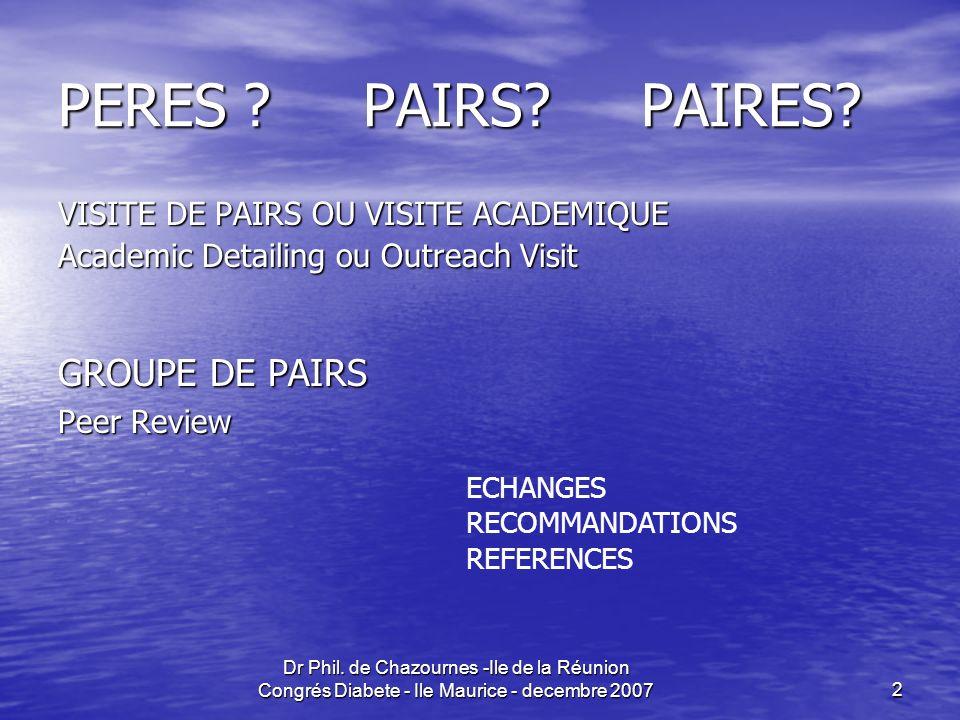 Dr Phil.de Chazournes -Ile de la Réunion Congrés Diabete - Ile Maurice - decembre 20072 PERES .