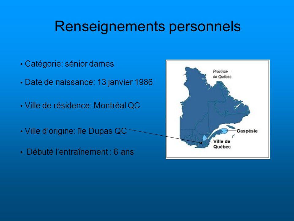 Renseignements personnels Date de naissance: 13 janvier 1986 Ville de résidence: Montréal QC Ville dorigine: île Dupas QC Débuté lentraînement : 6 ans