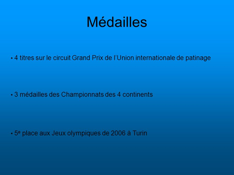 Médailles 3 médailles des Championnats des 4 continents 5 e place aux Jeux olympiques de 2006 à Turin 4 titres sur le circuit Grand Prix de lUnion int