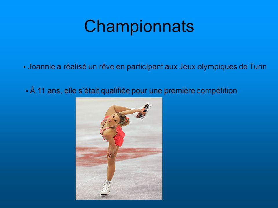 Championnats À 11 ans, elle sétait qualifiée pour une première compétition Joannie a réalisé un rêve en participant aux Jeux olympiques de Turin