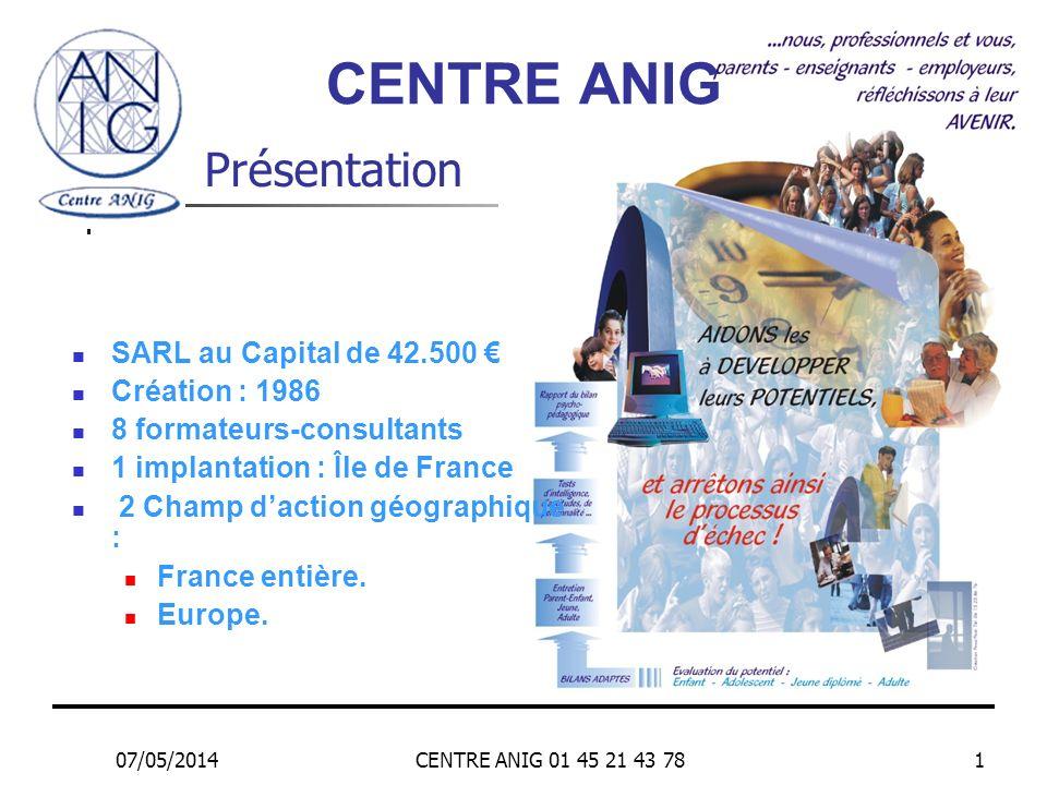 07/05/2014CENTRE ANIG 01 45 21 43 781 Présentation SARL au Capital de 42.500 Création : 1986 8 formateurs-consultants 1 implantation : Île de France 2