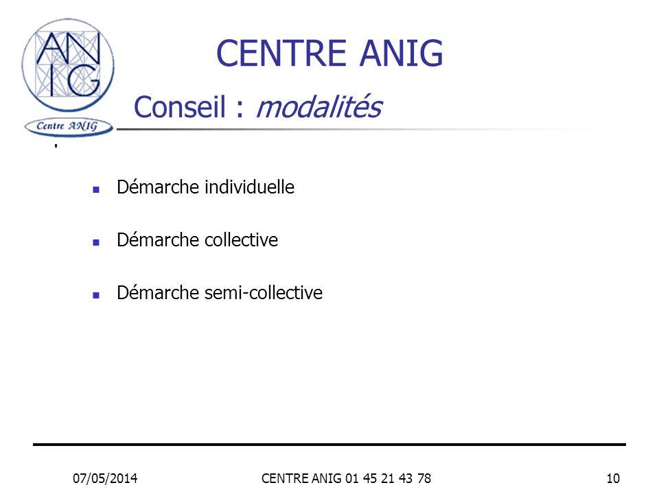 07/05/2014CENTRE ANIG 01 45 21 43 7810 Conseil : modalités Démarche individuelle Démarche collective Démarche semi-collective CENTRE ANIG