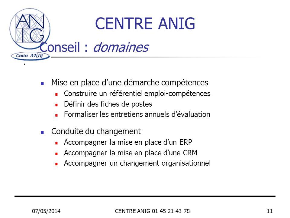 07/05/2014CENTRE ANIG 01 45 21 43 7811 Conseil : domaines Mise en place dune démarche compétences Construire un référentiel emploi-compétences Définir