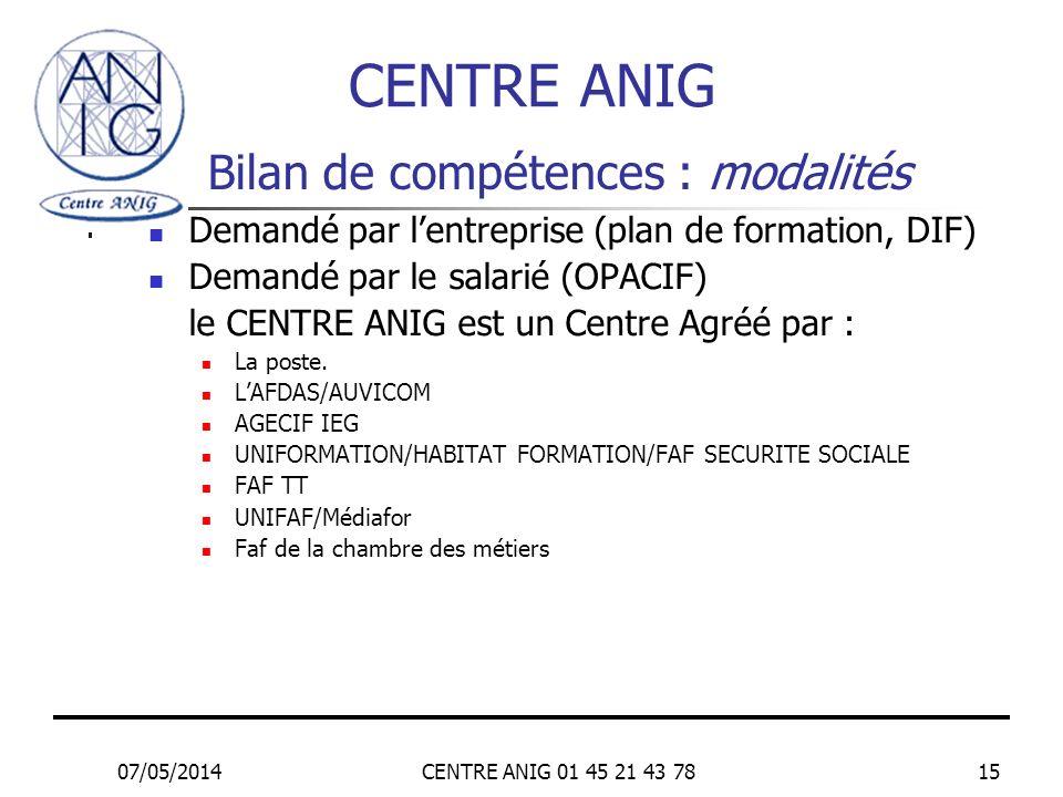 07/05/2014CENTRE ANIG 01 45 21 43 7815 Bilan de compétences : modalités Demandé par lentreprise (plan de formation, DIF) Demandé par le salarié (OPACI
