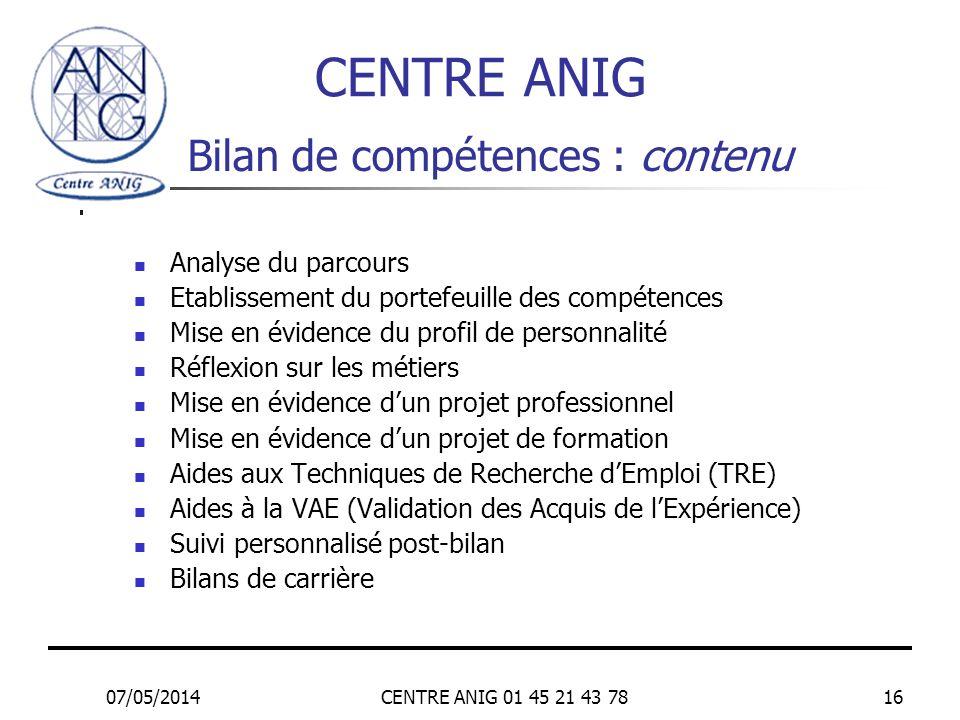 07/05/2014CENTRE ANIG 01 45 21 43 7816 Bilan de compétences : contenu Analyse du parcours Etablissement du portefeuille des compétences Mise en éviden