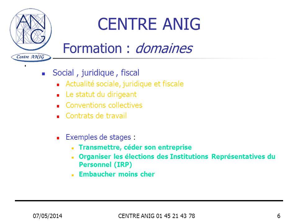 07/05/2014CENTRE ANIG 01 45 21 43 786 Formation : domaines Social, juridique, fiscal Actualité sociale, juridique et fiscale Le statut du dirigeant Co