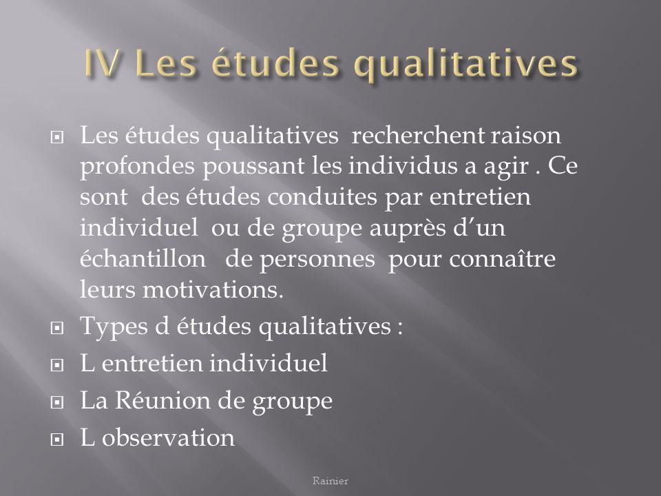 Les études qualitatives recherchent raison profondes poussant les individus a agir. Ce sont des études conduites par entretien individuel ou de groupe