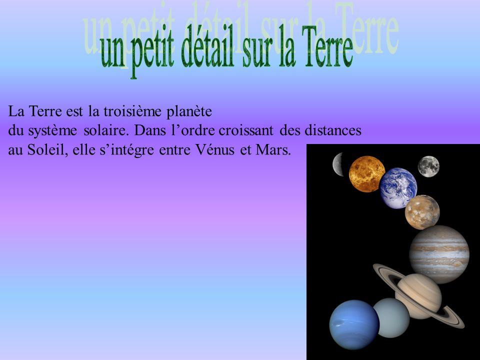 La Terre est la troisième planète du système solaire. Dans lordre croissant des distances au Soleil, elle sintégre entre Vénus et Mars.