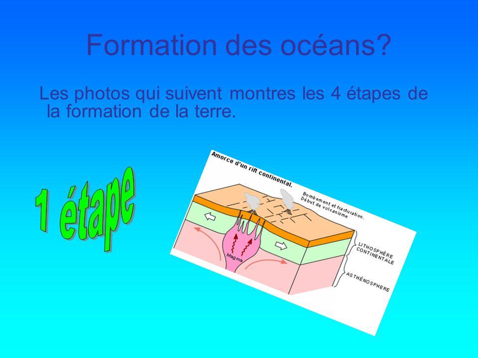 Formation des océans? Les photos qui suivent montres les 4 étapes de la formation de la terre.