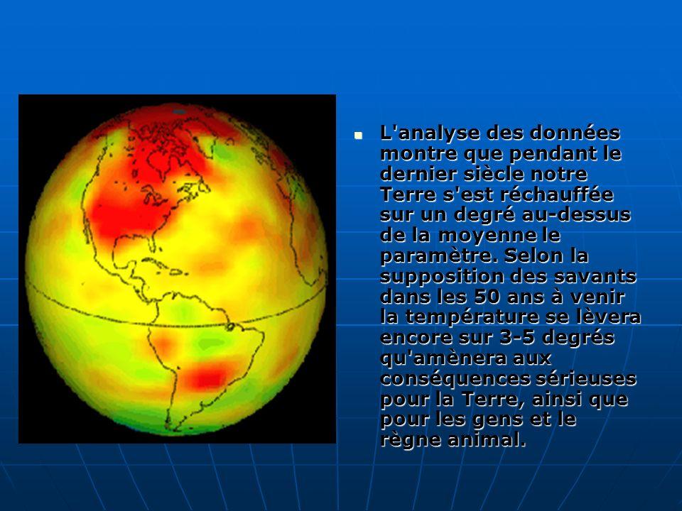 L'analyse des données montre que pendant le dernier siècle notre Terre s'est réchauffée sur un degré au-dessus de la moyenne le paramètre. Selon la su