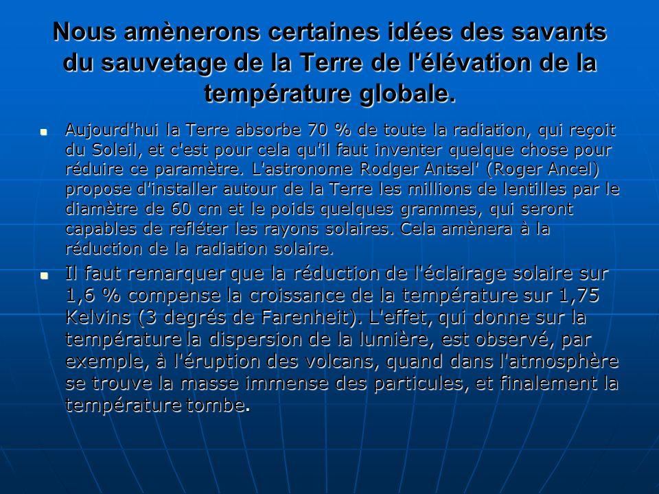 Selon une autre idée semblable (l article dans la revue Acta Astronautica) est supposé de créer autour de la Terre l anneau des particules menues ou les navires spatiaux, par qui on peut ombrager les tropiques et, par cela même, adoucir le climat.
