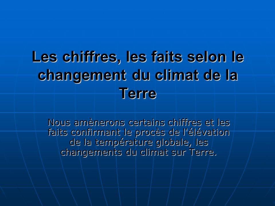 Les chiffres, les faits selon le changement du climat de la Terre Nous amènerons certains chiffres et les faits confirmant le procès de l'élévation de