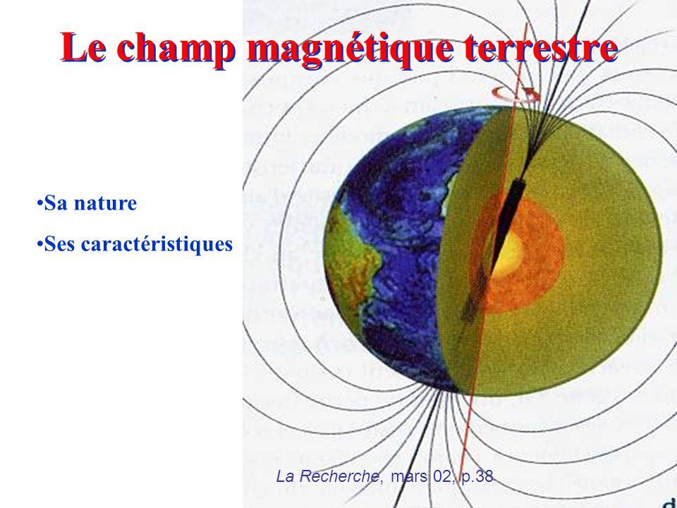 La Recherche, mars 02, p.38 Le champ magnétique terrestre Sa nature Ses caractéristiques
