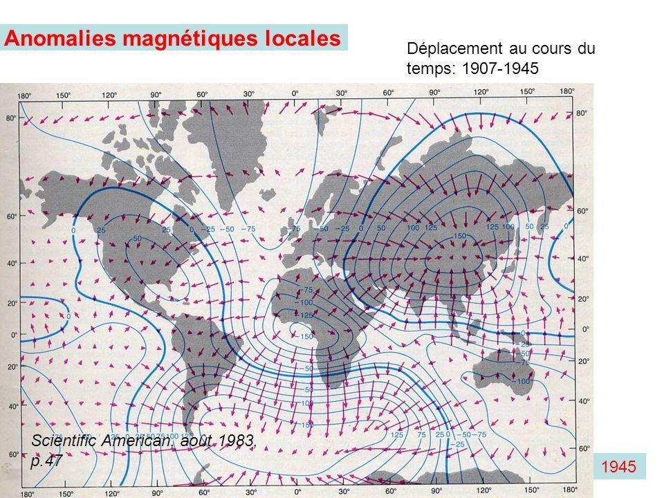1945 Anomalies magnétiques locales Déplacement au cours du temps: 1907-1945 Scientific American, août 1983, p.47
