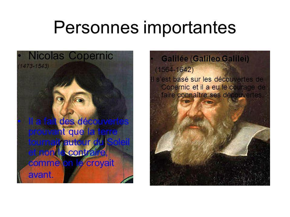 Personnes importantes Nicolas Copernic (1473-1543) Il a fait des découvertes prouvant que la terre tournait autour du Soleil et non le contraire, comm