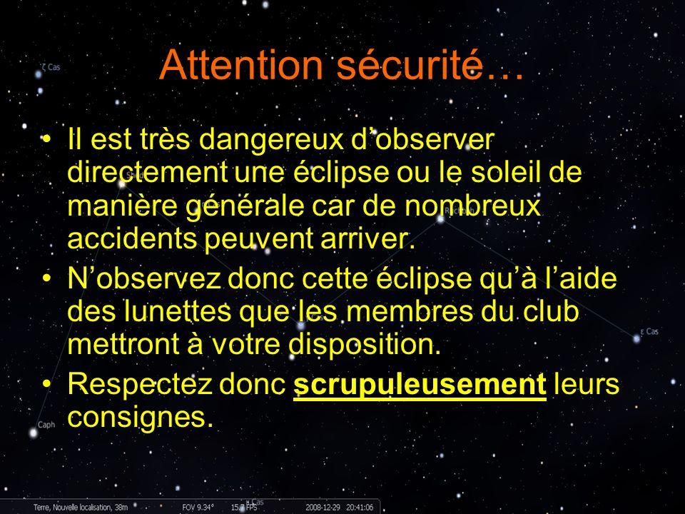 Attention sécurité… Il est très dangereux dobserver directement une éclipse ou le soleil de manière générale car de nombreux accidents peuvent arriver