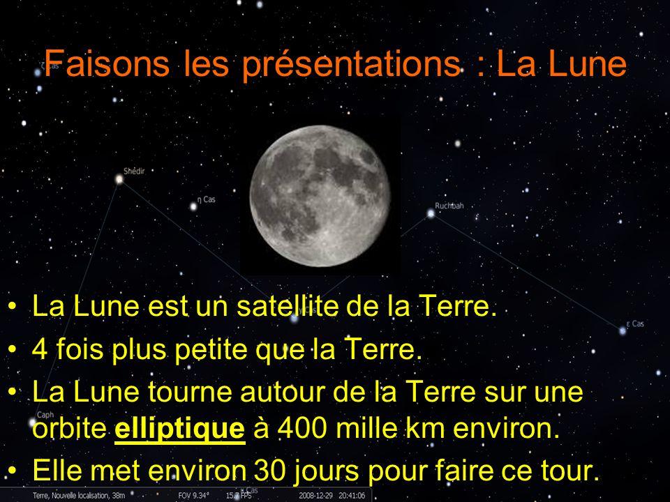 Faisons les présentations : La Lune La Lune est un satellite de la Terre. 4 fois plus petite que la Terre. La Lune tourne autour de la Terre sur une o
