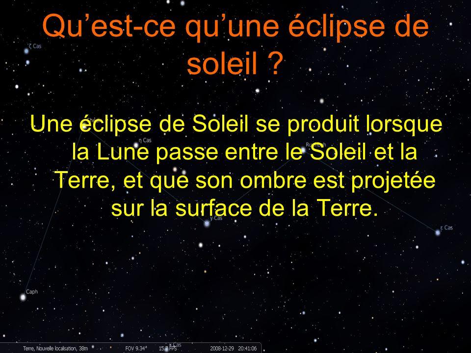 Quest-ce quune éclipse de soleil ? Une éclipse de Soleil se produit lorsque la Lune passe entre le Soleil et la Terre, et que son ombre est projetée s