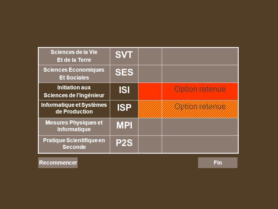 Sciences de la Vie Et de la Terre SVT Sciences Economiques Et Sociales SES Initiation aux Sciences de lIngénieur ISI Option retenue Informatique et Sy