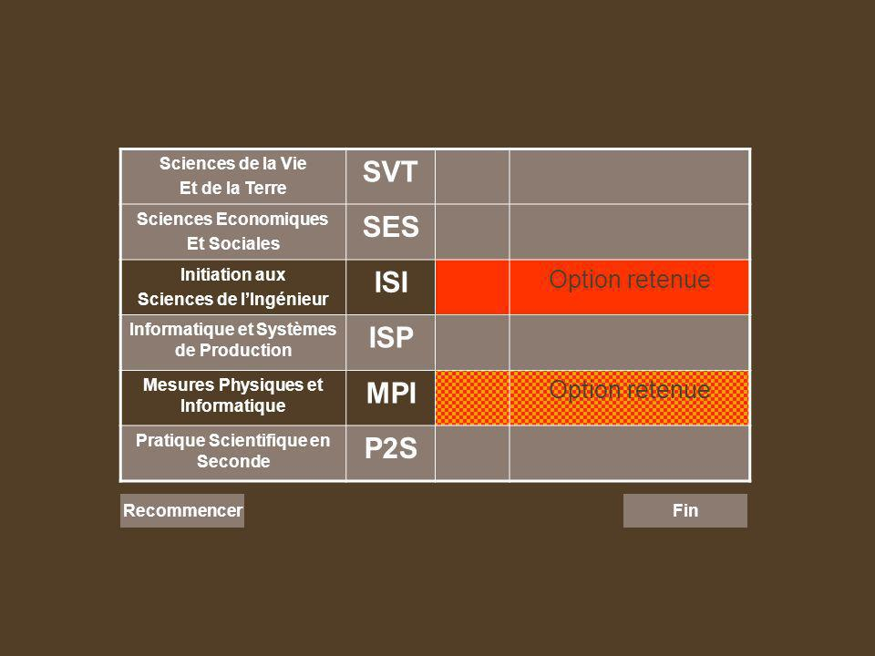 Sciences de la Vie Et de la Terre SVT Sciences Economiques Et Sociales SES Initiation aux Sciences de lIngénieur ISI Option retenue Informatique et Systèmes de Production ISP Mesures Physiques et Informatique MPI Option retenue Pratique Scientifique en Seconde P2S Recommencer Fin