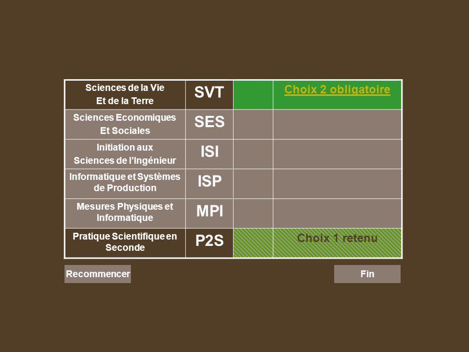 Sciences de la Vie Et de la Terre SVT Choix 2 obligatoire Sciences Economiques Et Sociales SES Initiation aux Sciences de lIngénieur ISI Informatique et Systèmes de Production ISP Mesures Physiques et Informatique MPI Pratique Scientifique en Seconde P2S Choix 1 retenu Recommencer Fin