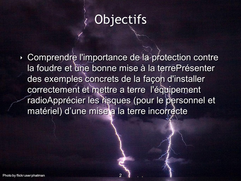 2 Objectifs 2 2 Comprendre l'importance de la protection contre la foudre et une bonne mise à la terrePrésenter des exemples concrets de la façon d'in