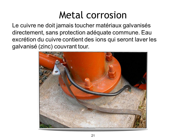 Metal corrosion Le cuivre ne doit jamais toucher matériaux galvanisés directement, sans protection adéquate commune. Eau excrétion du cuivre contient