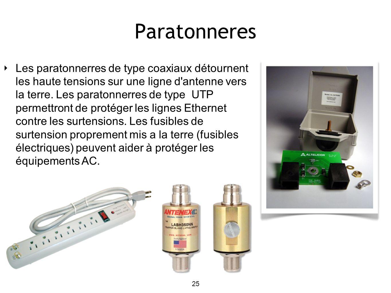 Paratonneres Les paratonnerres de type coaxiaux détournent les haute tensions sur une ligne d antenne vers la terre.
