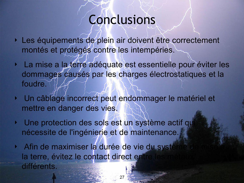 Conclusions Les équipements de plein air doivent être correctement montés et protégés contre les intempéries. La mise a la terre adéquate est essentie