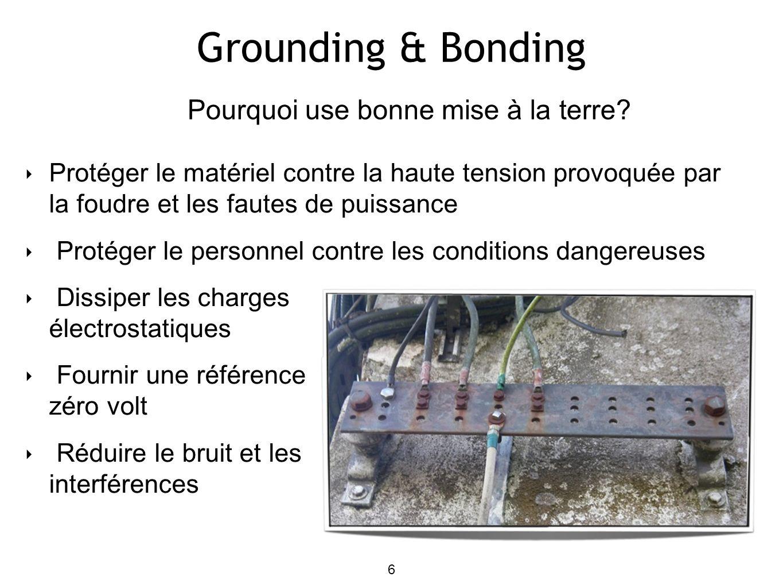 Grounding & Bonding Protéger le matériel contre la haute tension provoquée par la foudre et les fautes de puissance Protéger le personnel contre les c