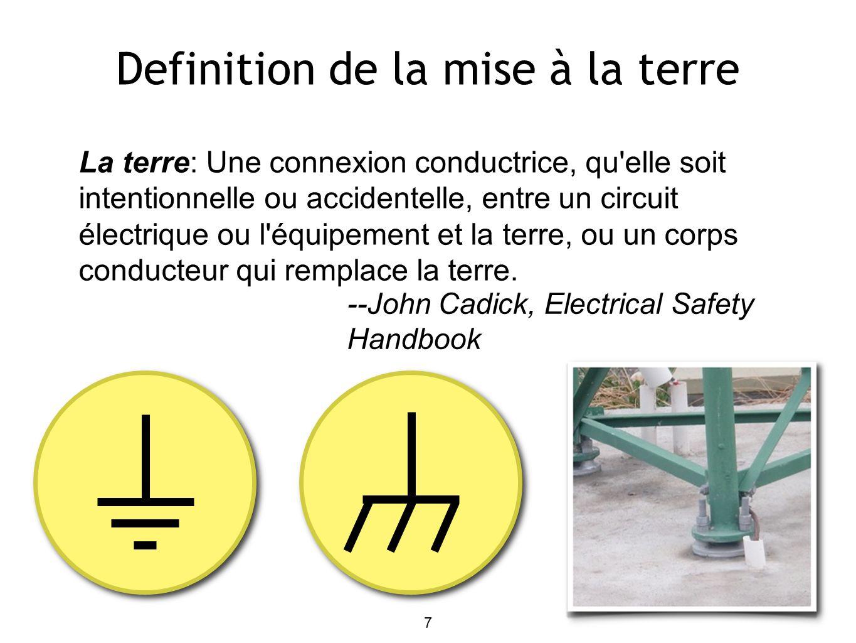 Definition de la mise à la terre La terre: Une connexion conductrice, qu elle soit intentionnelle ou accidentelle, entre un circuit électrique ou l équipement et la terre, ou un corps conducteur qui remplace la terre.