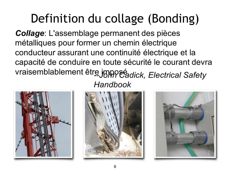 Definition du collage (Bonding) Collage: L'assemblage permanent des pièces métalliques pour former un chemin électrique conducteur assurant une contin