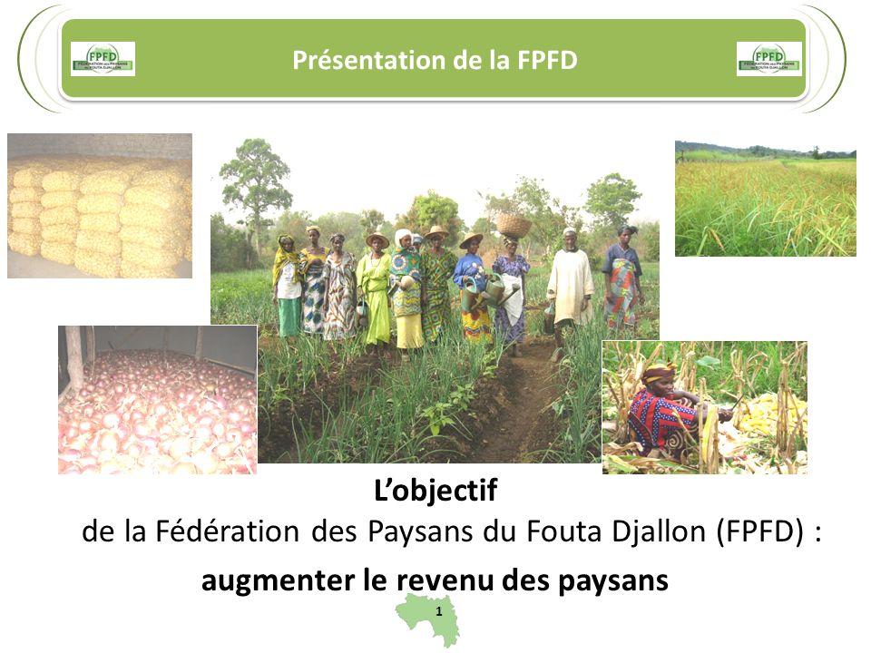 Présentation de la FPFD 1 Lobjectif de la Fédération des Paysans du Fouta Djallon (FPFD) : augmenter le revenu des paysans