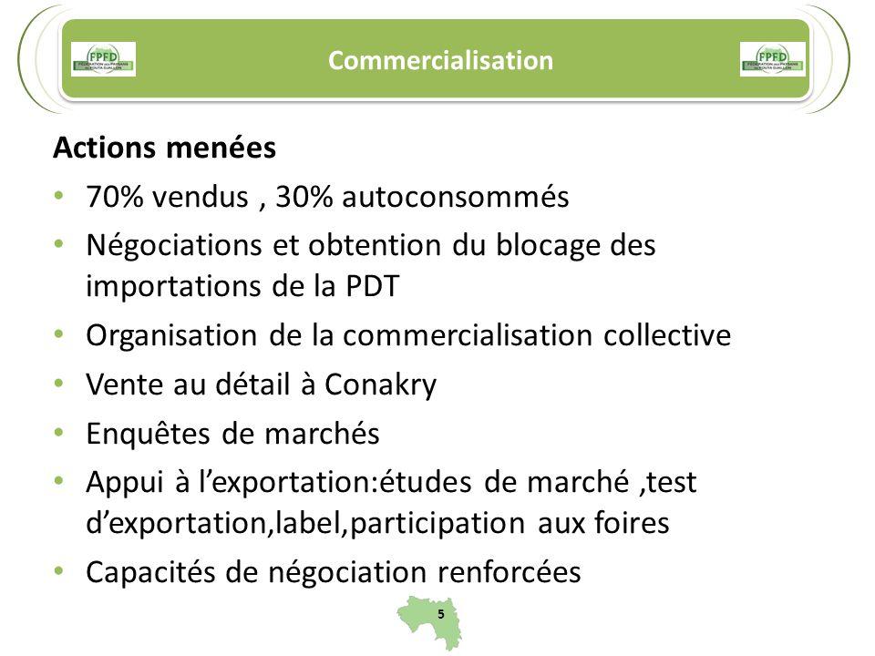 Commercialisation Actions menées 70% vendus, 30% autoconsommés Négociations et obtention du blocage des importations de la PDT Organisation de la comm